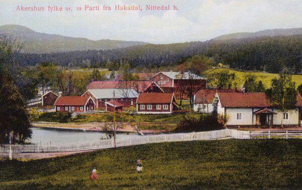 Akershus fylke Nittedal kommune Hakadal verk kolorert kort ca 1900 eller tidligere