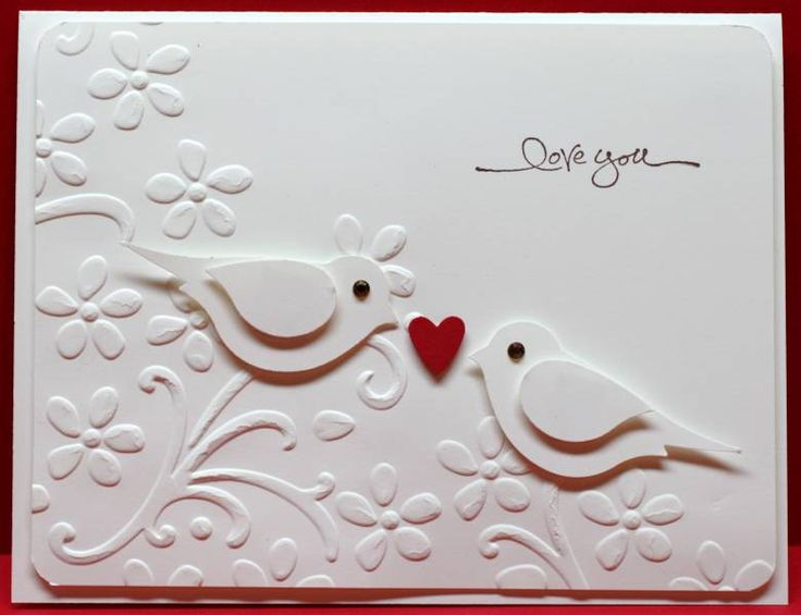 handmade Valentine/anniversary card ... Sweet white two step punched birds Love Card ... SU bird punch ... Stampin' Up!
