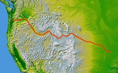 Map of the Oregon Trail.  American Frontier - Wikipedia, the free encyclopedia