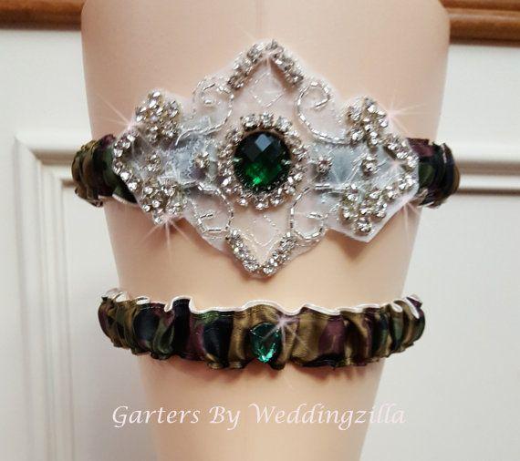 Camo #Wedding #Garter Set /  #CAMOUFLAGE CRYSTAL GARTER Set,  Camo Bridal Garter Set,   Sexy glam crystal camo wedding garter set, who says camouflage wedding garters can't be... #wedding #bride #bridal #garter #hairpiece #weddings #ido #rusticwedding #camowedding #camogarter #camouflage