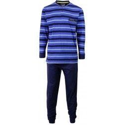 Dat knált! Blauwe heren pyjama met zwarte en witachtige strepen boven donkere broek