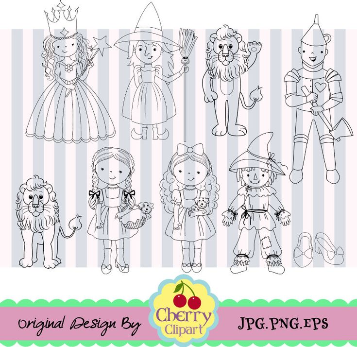 Wizard of OZ Cute Digital Clipart_Black and White,Dorothy Black and White Digital Clip Art -Personal and Commercial Use by Cherryclipart on Etsy