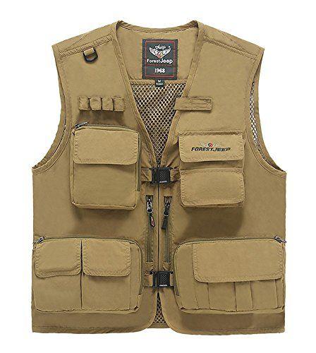 topshow mens flirty relaxed fit zipper sleeveless cargo vest jacktet khaki m topshow http cargo vestbulletproof - Halloween Bullet Proof Vest