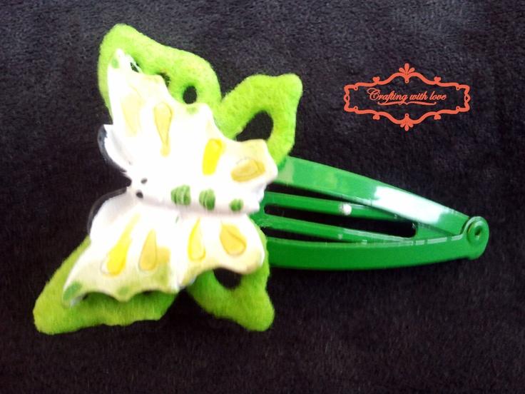 Handmade felt butterfly hair clip.