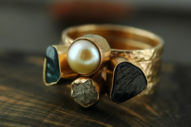 Three Stacking Rings- Custom 14k Gold  Set With Pearl, Rough Diamond, and  Raw Gemstones. $2,650.00, via Etsy.