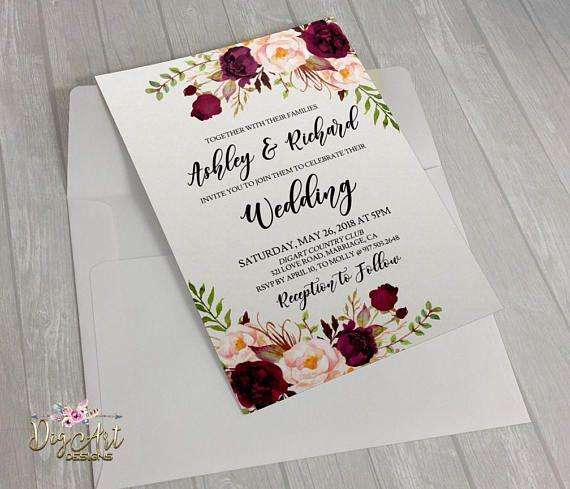 Printable Editable Burgundy Floral Boho Rustic Wedding Invitation Set Templates INSTANTLY available for you to EASILY & FAST edit them ONLINE (in your browser), save, download and print! As simple as that! Carefully designed to take a part in making your Wedding day even more remarkable