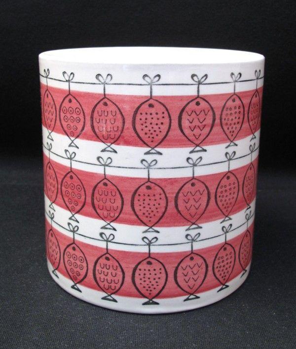 Upsala Ekeby Gefle Sweden Red Vinga Pattern Vase Mid Century Scandinavian | eBay
