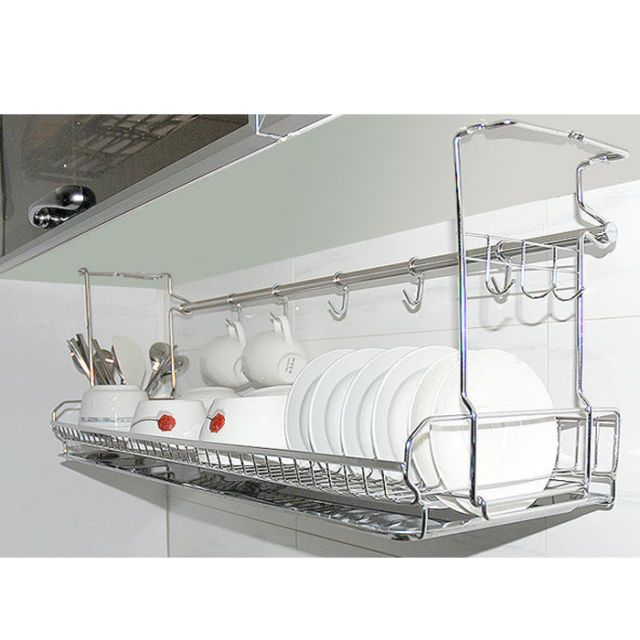 Stainless Space Under Shelf Dish Drying Rack Drainer Dryer Tray Storage Kitchen Sink Organization Kitchen Storage Organization Kitchen Storage
