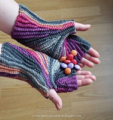 Stylish with an interesting construction - these fingerless gloves are worked flat and use short rows to form a circle around the thumb. Because of this unusual construction, they are great to show off variegated yarn.