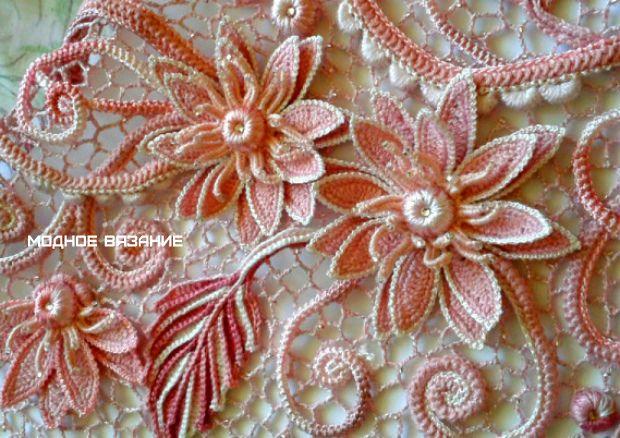 Цветок лотос в ирландском кружеве - Модное вязание