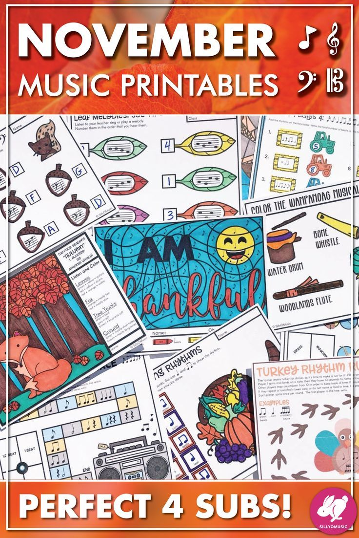 Thanksgiving & Fall Music Activities, Worksheets, & Color-by-Note ...