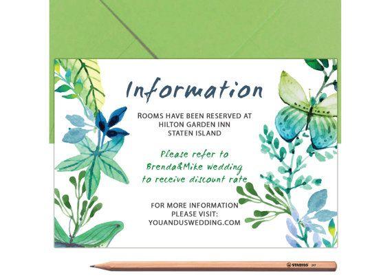 Blue Bestpoke Wedding Information Card Green by LoveArtsStationery