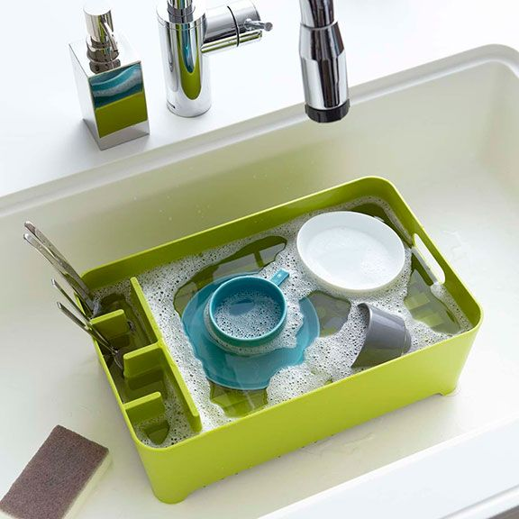 Aqua sink drainer basket isfor in sink use or out on the counter.Submerge all your dishes, clean, rinse and drain. Available in red, black, white, olive.
