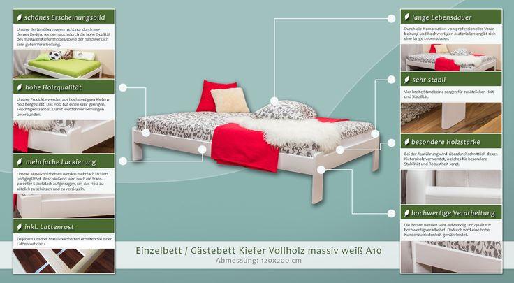Einzelbett / Gästebett Kiefer Vollholz massiv weiß lackiert A10, inkl. Lattenrost - Abmessung 120 x 200 cm