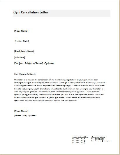 cancellation letter templates for word document gym membership contract template format