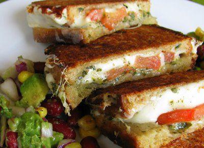 Mozzarella, plum tomato, basil pesto grilled cheese sandwich with avocado. AMAZING.