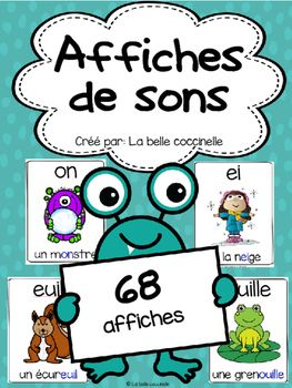 This package contains 68 posters of various French sounds. Each sound is represented by a word and a picture.  The sound is highlighted in blue within each word.These posters are a great addition to any classroom!