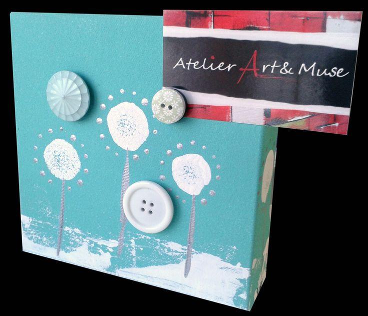 Toile aimantée, boutons aimantés,blanc,fleur, vert peppermint , cadre, peinture abstraite, aimants, oeuvre unique, personnalisée, décoration de la boutique AtelierArtetmuse sur Etsy