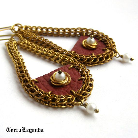 Claret red leather chainmaille earrings, unique chainmaille jewelry with brass and white beads