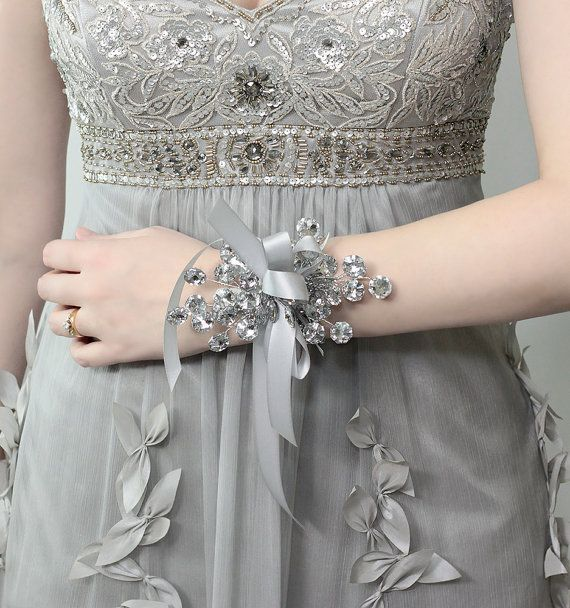 Wrist Corsage - Silver Mirrored Beads - Wedding Accessory for Mothers, Aunts, Sisters, Women - Holiday Wrist Corsage for Prom or Dance. $25.00, via Etsy.