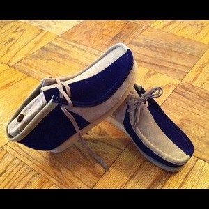 Navy Blue Amp Natural Sand Wallabee Clarks Boot Wu Tang