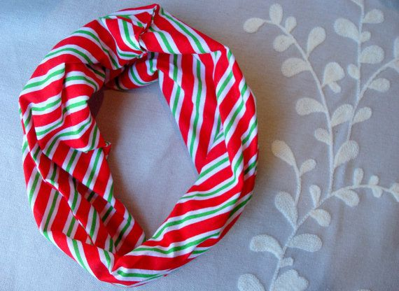 Candy Cane Striped Children's Infinity Scarf, Red, Green & White Striped Infinity Scarf, Christmas Toddler Scarf, Hipster Scarf, Drool Bib