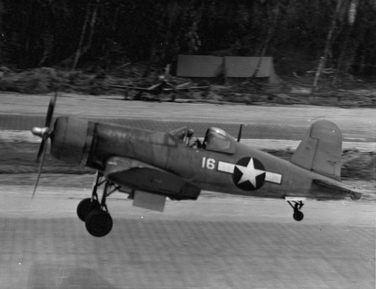 F4U Corsair of Marine Fighter Squadron VMF 214 the famed Black Sheep launches from Cape Torokina for a combat mission on 10 January 1944