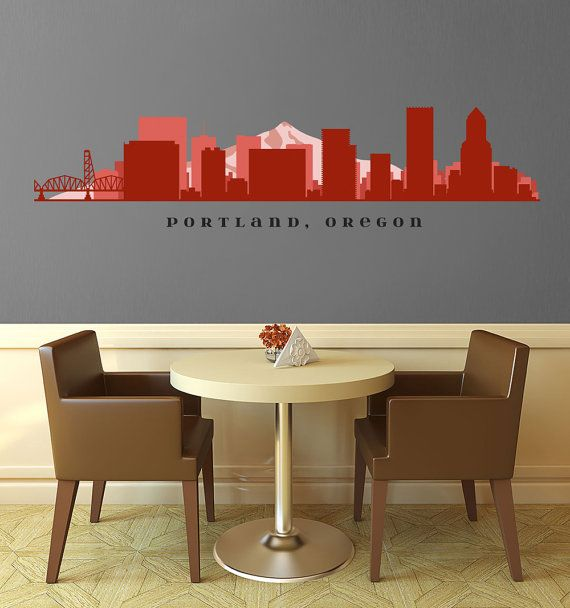 "PORTLAND OREGON Skyline Wall Decal Art Vinyl Removable Peel n Stick up to 70"" x 18"" Living Room Office Business Decor City"