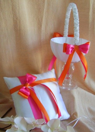 Hot Pink & Orange Wedding Colors Flower Girl basket & Ring Pillow Set. I'd like this idea except change the colors to a Tiffany blue (and maybe even mint?) :3