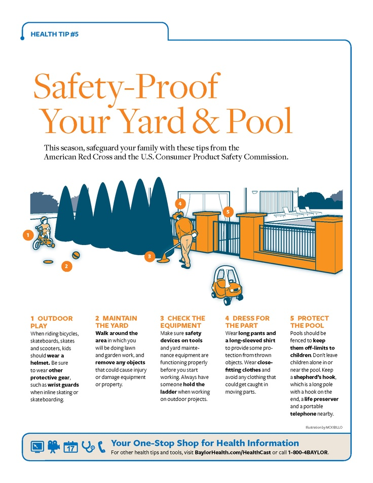 [Printable] #Safety-Proof Your Yard & Pool: Safeguard your family with these tips from the American Red Cross and the U.S. Consumer Product Safety Commission. #BaylorHealth
