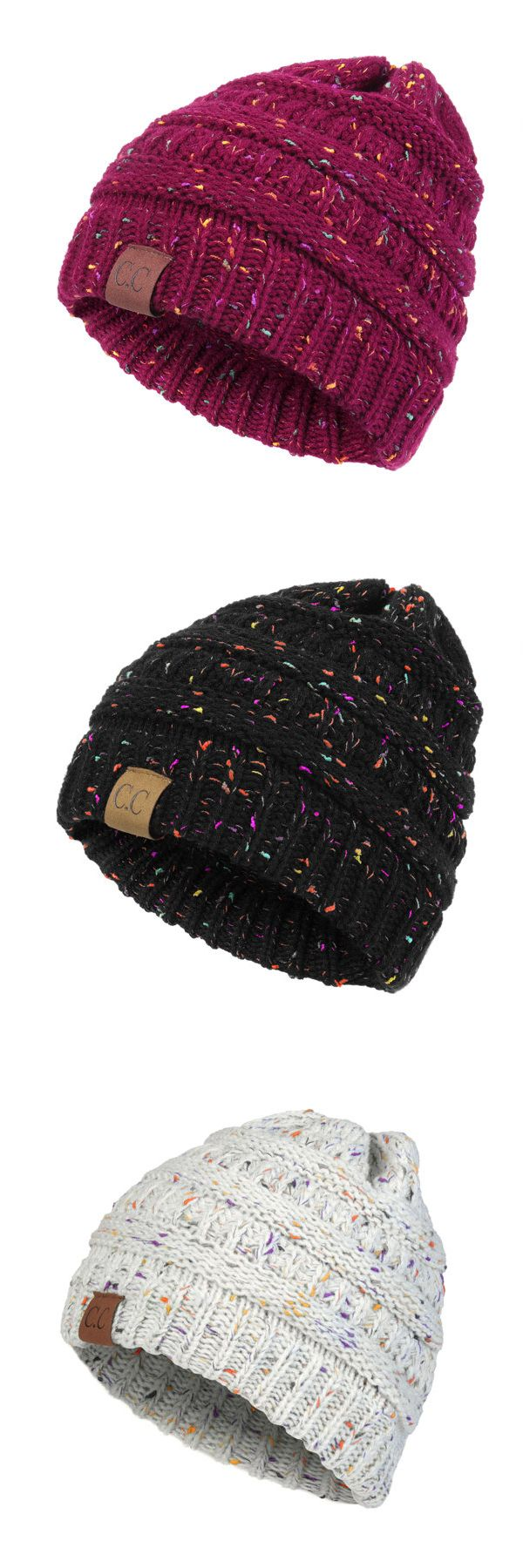 Womens Warm Soft CC Label Decorated Crochet Knitting Bonnet Hats Outdoor Snow Stripes Beanies Cap