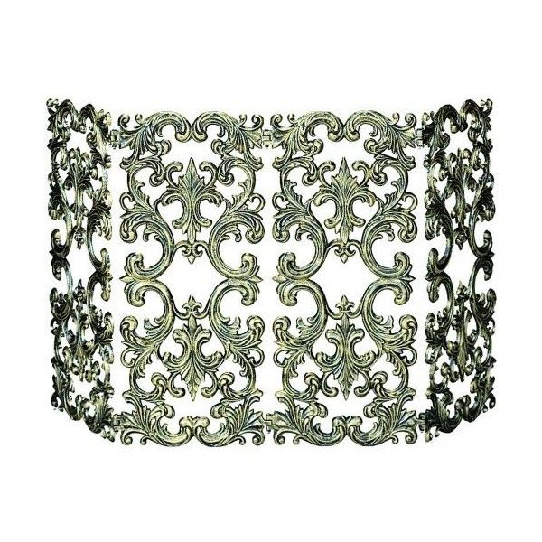 """Uniflame S-5531 30"""" High 4 Fold Antique Gold Cast Aluminum Screen ($248) ❤ liked on Polyvore featuring home, home decor, fireplace accessories, accents, antique bronze, fire screens, fire place screen, fireplace screens, uniflame and folding screen"""