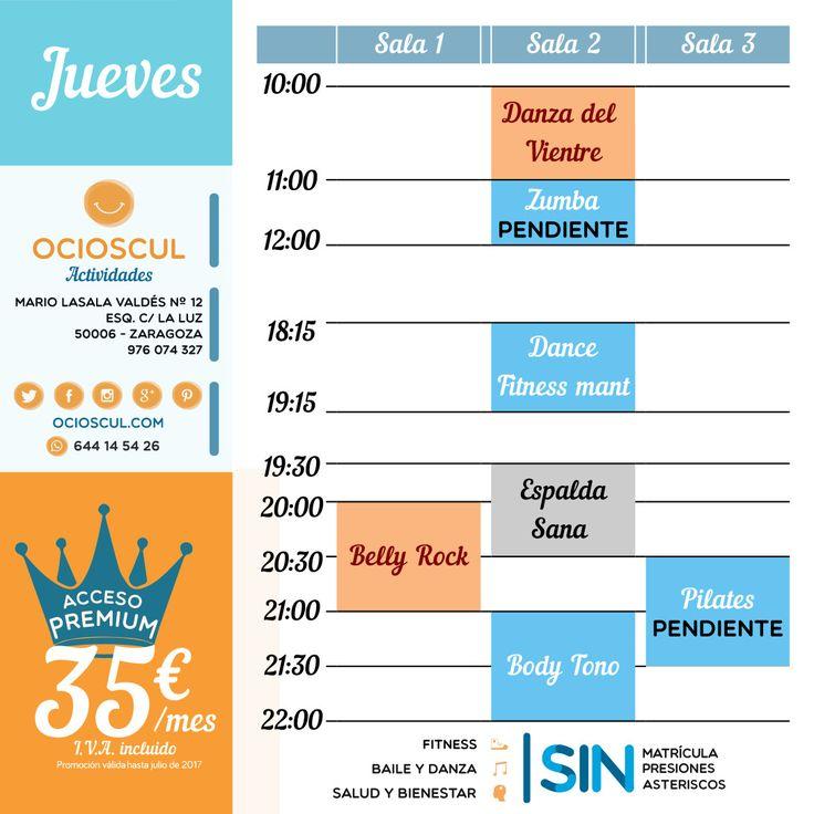 #BuenosDías #Zaragoza😄 Actividades de hoy jueves: #DanzaDelVientre #DanceFitness #EspaldaSana #BellyRock #BodyTono https://goo.gl/bkdoSf