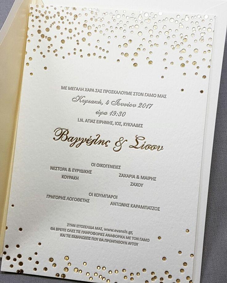 Modern foil-pressed & letterpress wedding invitation in gold & grey. Custom made by Prototypon, Athens.