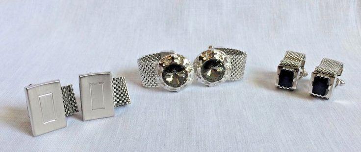 3 Pairs Vintage Mens Cufflinks Mesh Wrap Around Silver Metal Settings #Unbranded