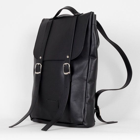 Black middle size leather backpack rucksack / To order by kokosina