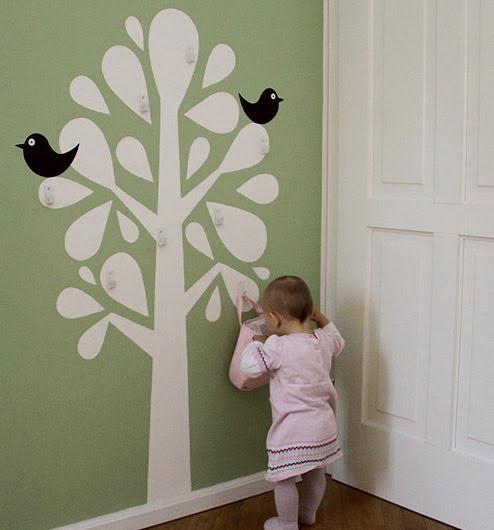 wall sticker/painted tree + hooks = super cute hanger