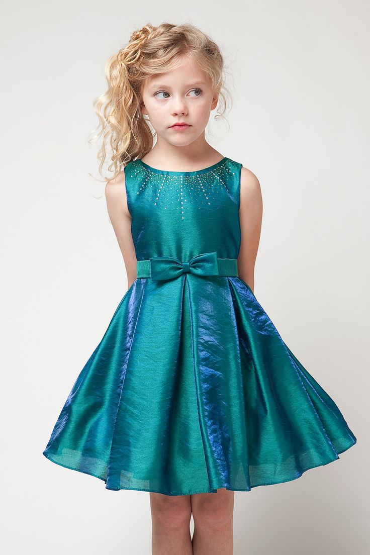 Island Blue Two Tone Flower Girl Dress JJ1222-IB $47.95 on www.GirlsDressLine.Com