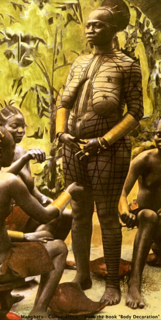 """Africa   Queen Mutubani of the Mangbetu people being body painted by serving girls.  1910    © Scanned from the publication """"Body Decoration"""", Schildkrout, Enid, Jill Hellman, and Curtis A. Keim. 1989"""