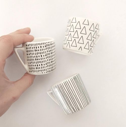 cerámica con calcos vitrificables. espresso cups with decal