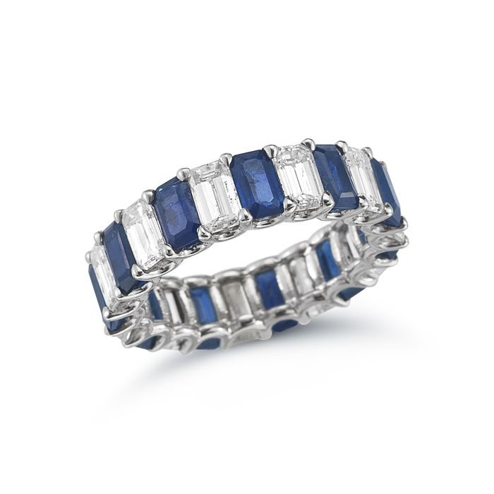 The Beth Band Emerald Cut Sapphire And Diamond Eternity To Go With My Wedding Ring