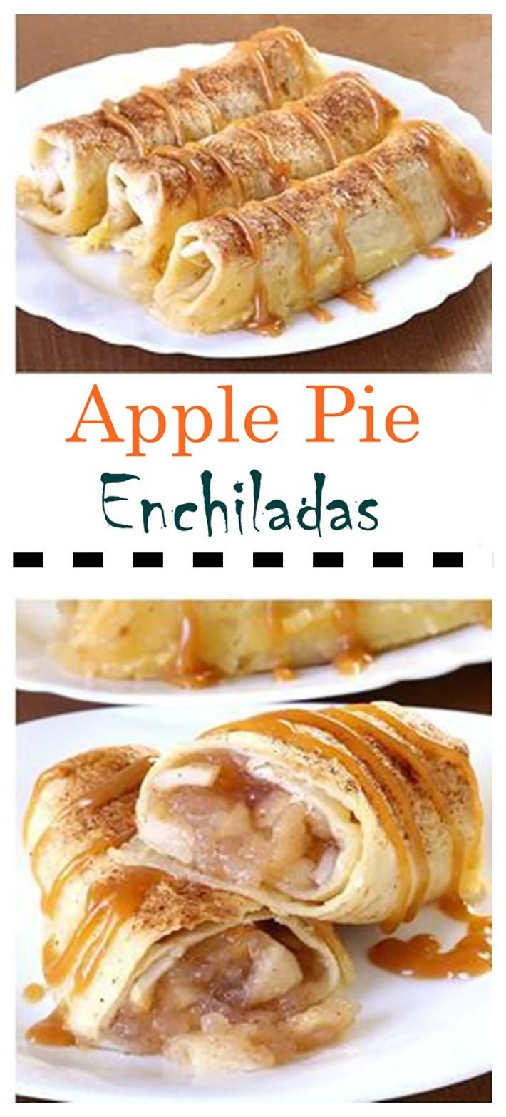 Baked Apple Pie Enchiladas give you all the cinnamony goodness of hot apple pie stuffed securely into a tortilla and drizzled with caramel sauce... Ingredients:
