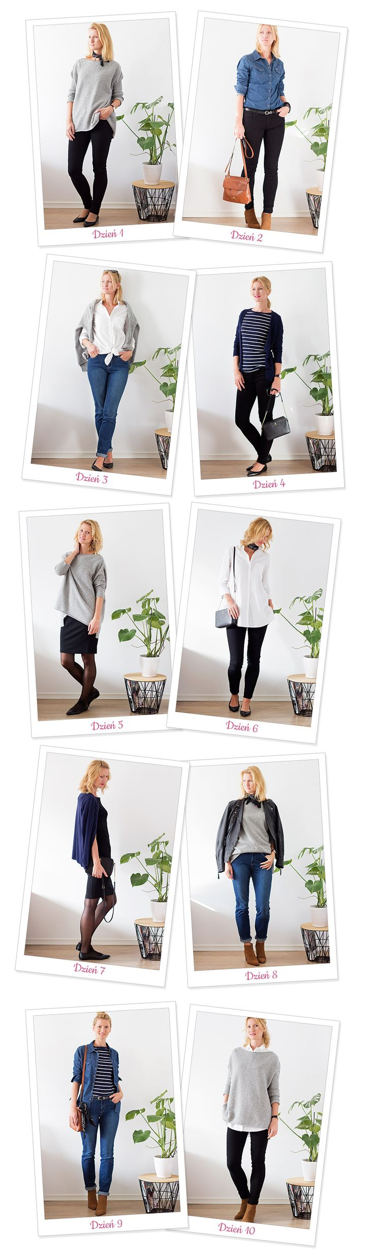 Podsumowanie wyzwania 10x10. Capsule wardrobe, 10 outfits out of 10 pieces of clothes.