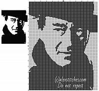 John Wayne free cross stitch pattern painting black and white in 150 stitches