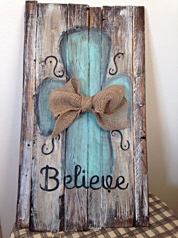 Believe reclaimed barn wood sign