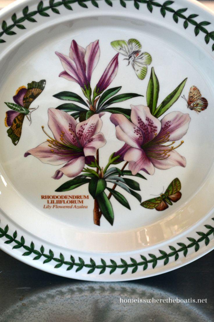 Lily Flower Azalea Portmeirion Botanic Garden plate and motif.