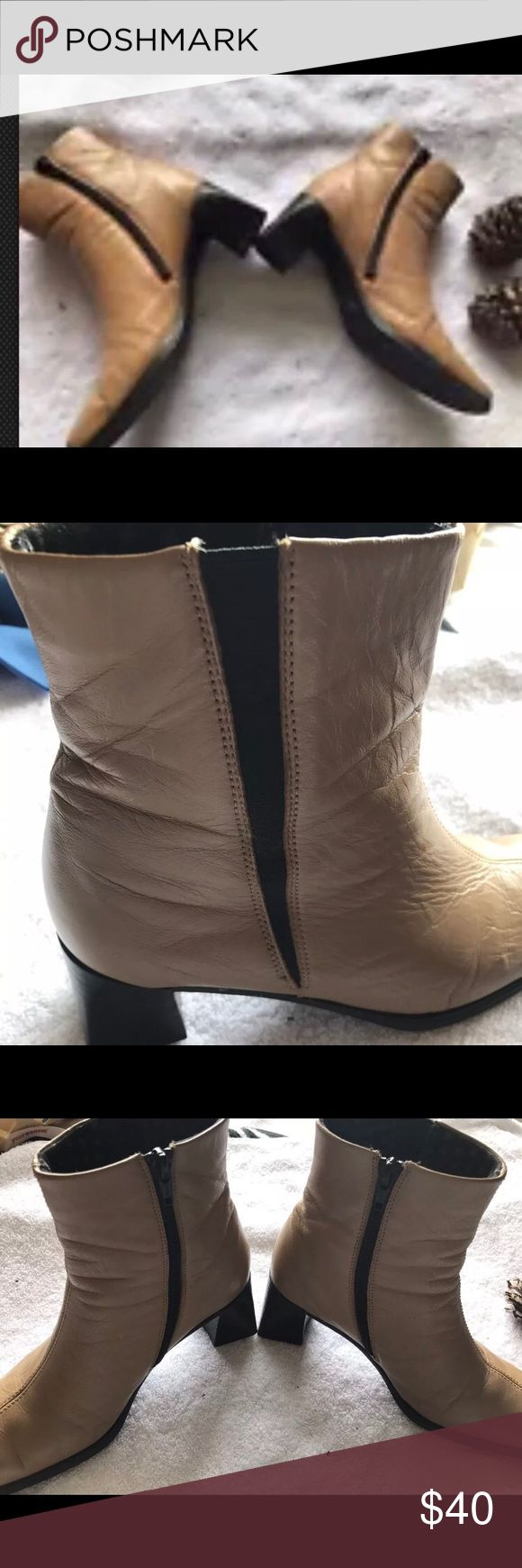 Rieker Salamander Tan Leather Ankle Boots 37 Used. Sz 37 / 7 American size. Great condition . See pictures for details . Heel is 2' in. Feel free to ask any questions I will reply same day. Ships same day . Smoke and pet free home.  Will reply within 24 hours. Rieker Shoes Ankle Boots & Booties