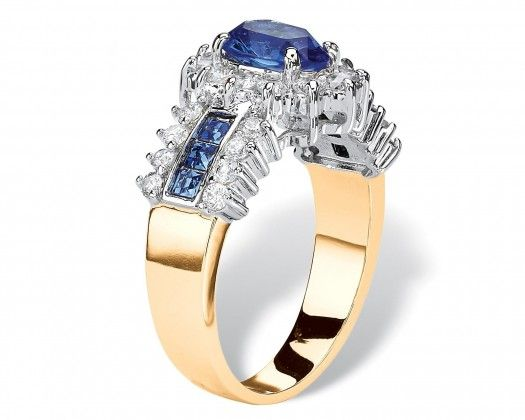 chicmarket.com - .82 TCW Oval-Cut Sapphire Blue Crystal and White Cubic Zirconia Two-Tone Halo Ring MADE WITH SWAROVSKI ELEMENTS 14k Gold-Plated - 10