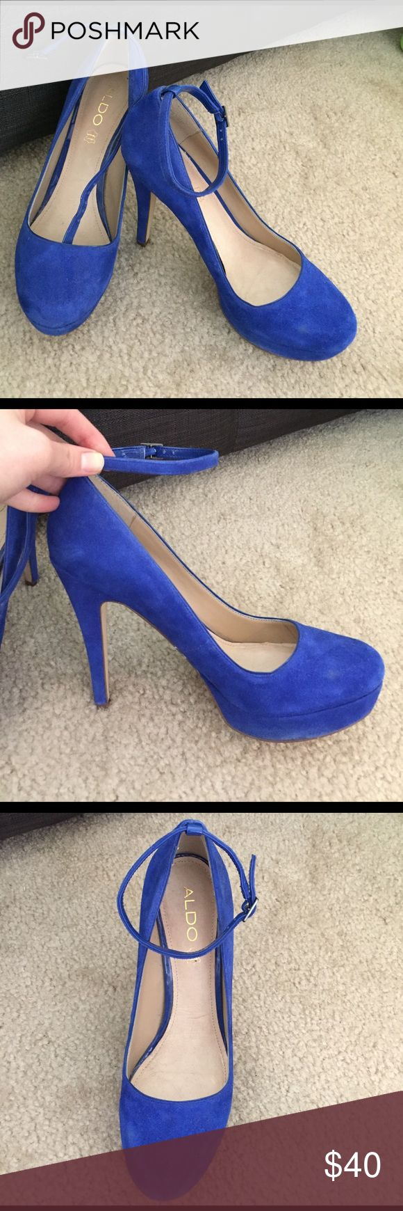 Royal Blue suede Aldo pumps Size Euro 40, but fit like US size 9. Royal blue suede. Worn once for NYE party! Aldo Shoes Heels