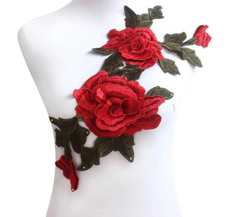 Find More Patches Information about Red Green Rose Floral  Trim Venise Applique Motif Embroidered Collar Trimming Sew on Patches,High Quality patch army,China patch pants Suppliers, Cheap patch code from DIY Resources on Aliexpress.com